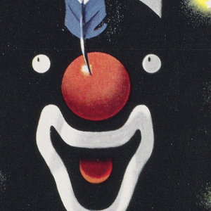 Poster design for the New York Subway Advertising Company encouraging businesses to purchase advertising space for a poster on the subway. On black ground, a disjointed face of a clown, made up of only eyes, a red nose with red, white, and blue feather, an open mouth and tongue, and a white cone hat. Behind, purple and yellow lights forming a ring around the clown's face. At top, in white, gray, and yellow text: SUBWAY [italicized] / POSTERS. At bottom: PERFORM / DAILY BEFORE FIVE MILLION / PAIRS OF EYES / [New York Subway Advertising Company logo in blue]