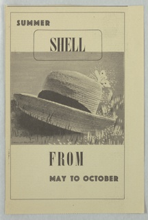 Newspaper clipping of an advertisment for Shell-Mex and BP Ltd. An image of a sunhat in grass with a butterfly in black and white. Above: SUMMER / SHELL; below: FROM / MAY TO OCTOBER. Newsprint text on verso.