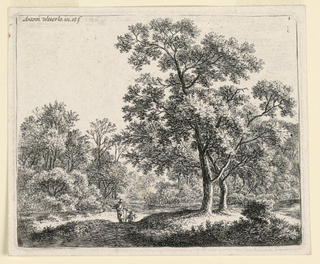 In a wooded landscape, two figures stand at center nearby a river, which crosses the picture horizontally. At right foreground, a small hill with two large trees.