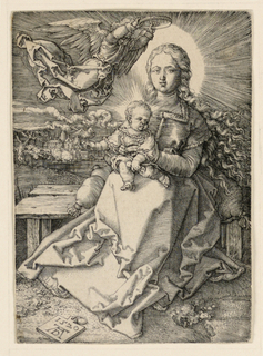 """The full-length figure of the Virgin is represented seated on a bench, facing the spectator. She holds the Child with Her two hands, supporting Him on Her knees. A bird is on the Child's right hand. At upper left, an angel holds a crown of pearls over the Virgin's head. Monogram of Dürer and year """"1520"""" on tablet, lower left."""
