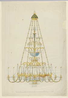 Vertical rectangle. Design for a chandelier, on top is a ring. The upper part has the shape of a garden umbrella, from which another umbrella hangs. The candles are carried by branches, fastened to two rings, eight--five are shown--to an upper one, sixteen are shown to a lower one. Below is a glass bowl. Scale below.