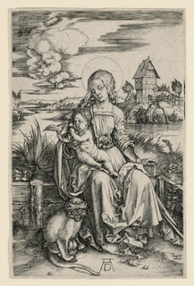 Virgin holding the Child on her lap holding a bird. On the left is a seated monkey.