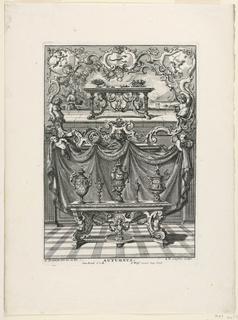 """Print, Unterschiedlich Augspurgische Goldschmidts Arbeit, """"Autumnus"""", Plate 3, 1721–40"""