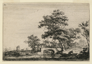 River occupying foreground flows toward horizon. At mid-distance, a small stone bridge with four men standing on it, a fifth approaching with dog from left. At right foreground, a man in a boar. In background right, houses between trees.