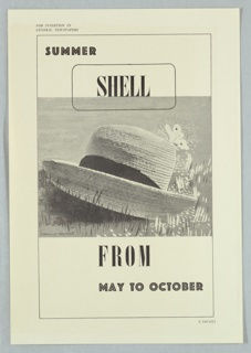 Proof for a newspaper advertisment for Shell-Mex and BP Ltd. In the center in black and white, a straw hat is seen on a grassy turf, with a butterfly on the crown. Text in black, upper left and center: SUMMER / SHELL; lower center and right: FROM / MAY TO OCTOBER.