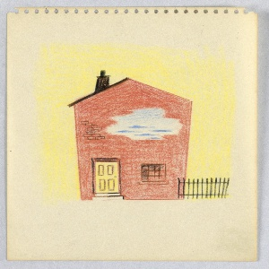 Abstraction of a house façade pierced by a door, one ground floor window, and a hole through which clouds are seen above; on yellow background. A fence runs at the right.