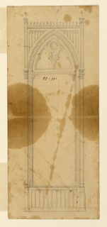A panelled base is below. An arch rises upon it containing the oblong mirror and tracery on the top. Embedded columns and pilasters form the outward framing. A Cornice with a crest border connects the pilasters above the point of the arch. Tracery fills the wedges. Reverse: blotter of a plan: figures.