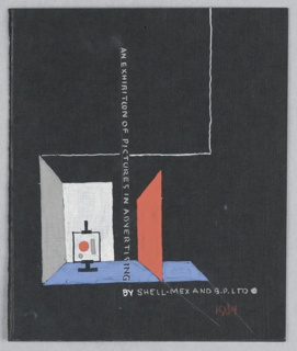 Study for an Exhibition Annoucement for Shell-Mex and BP Ltd. On a black ground, a room-like space with red, white, and grey walls and a blue floor. An easel with a painting in the center. Text in gray, vertically placed at center of plane: AN EXHIBITION OF PICTURES IN ADVERTISING; below [horizontally]: BY SHELL-MEX AND B.P. LTD.