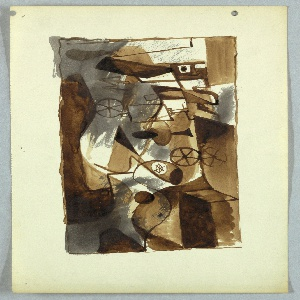 Abstract composition, depicted in a Cubist manner, including wheels, rectangular shapes and an grouping of curved lines that seem to depict an abstracted flamingo-like bird, at center bottom.