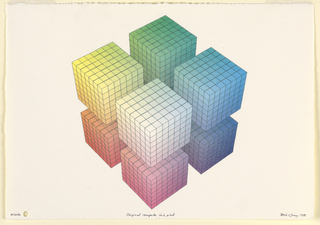 Aerial view of a cube split into eight floating blocks, situated in isometric perspective. Each block comprised of 49 micro-cubes. A color chart rendered in three dimensions with vertices of red, yellow, blue, green, orange, violet, white, and black (out of view).