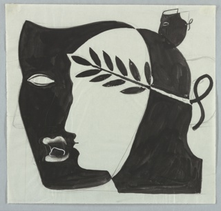 Likely, a study for a poster advertising Earls Court for the London Passenger Transport Board. A black mask and white head seen in left profile with laurel crown. At right, partial masks of smaller size in graphite line.