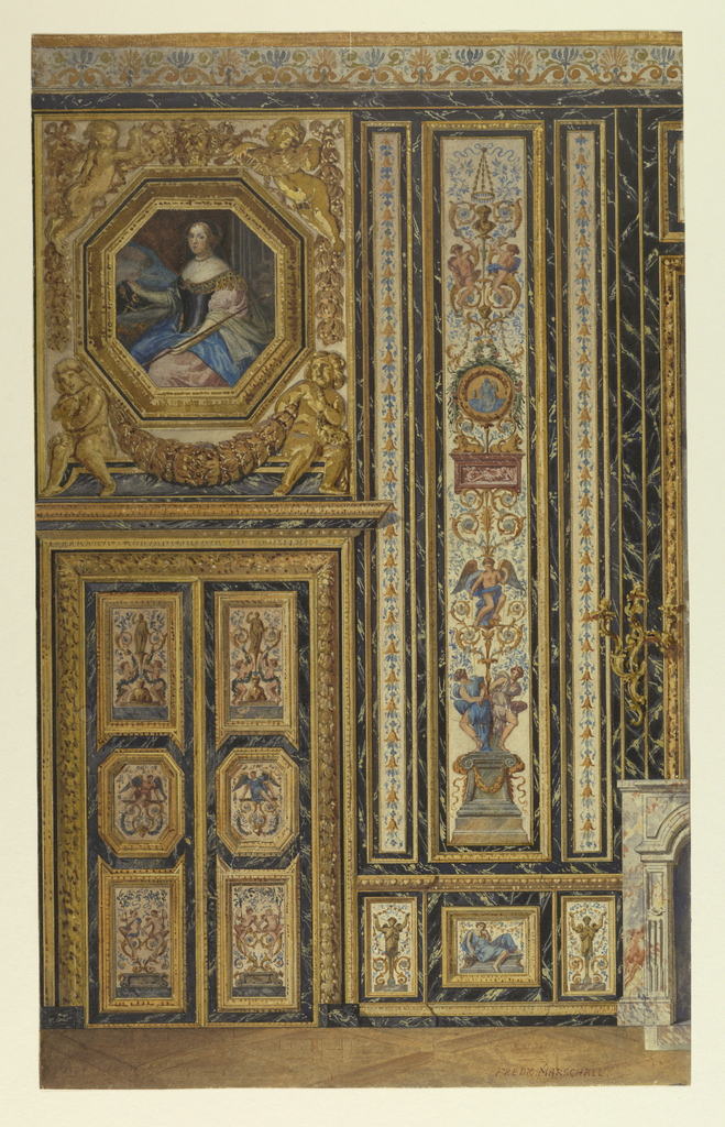 Section of wall, with painted panels of arabesques and figures set within marble borders. Left, portrait of woman, Anne of Austria, in octagonal frame over door. Cupids with swags, in relief, flank portrait. Right, detail of mantlepiece.