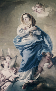 Vertical rectangle.  Madonna in center of composition surrounded by angels.