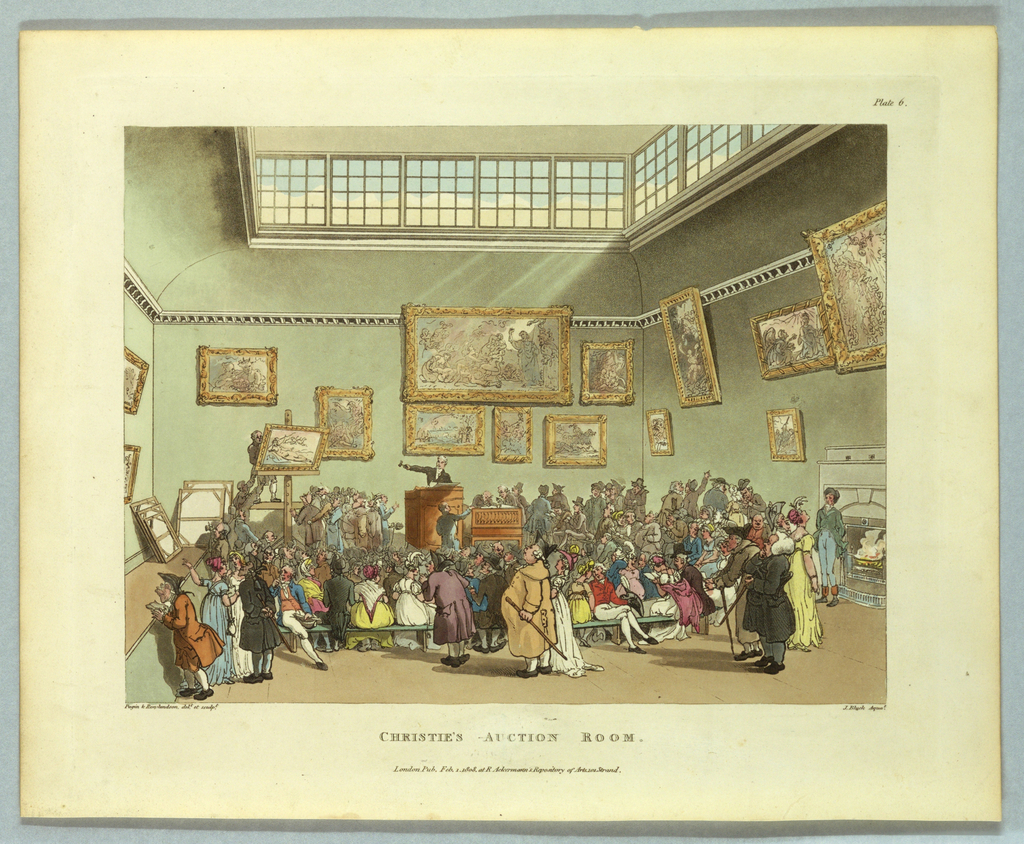 Plate showing Christie's Auction Room from the series 'Microcosm of London.' A crowd stands in a high-ceilinged room, with light streaming in through high windows. Paintings in ornate frames are hung salon-style, with vaguely recognizable classical compositions: an Annunciation, an Adoration, a saint, an equestrian scene, a portrait. A reclining Venus is displayed on the auction stand, and before her a lively and colorful crowd is shown, with detailed dress and caricatured features.