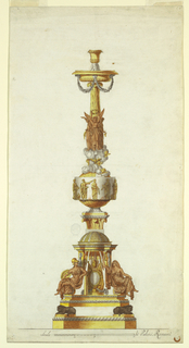 "A design for a single candelabrum.  At the bottom, lions, crouching on a base, support a pavilion, on the volutes of which are seated two female figures: ""Strength,"" at left and ""Faith,"" at right.  At the center stands a Papal escutcheon.  On top of the dome stands a capital, supporting a sphere.  The sphere is surrounded  by a band with St. John the Evangelist, St. Paul, St. Peter, another saint with a book, and St. Mark, and is topped by clouds with the Dove and cherubim.  From the clouds rises a balustrade, in a circle of winged female figures.  The balustrade supports the bowl, form which festoons are suspended, and the socket.   Under the base line is an inscription and scale."