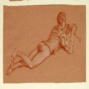 Horizontal rectangle. Full-length figure of a boy in costume, lying prone, facing right in profile. He is blowing a horn or flute.