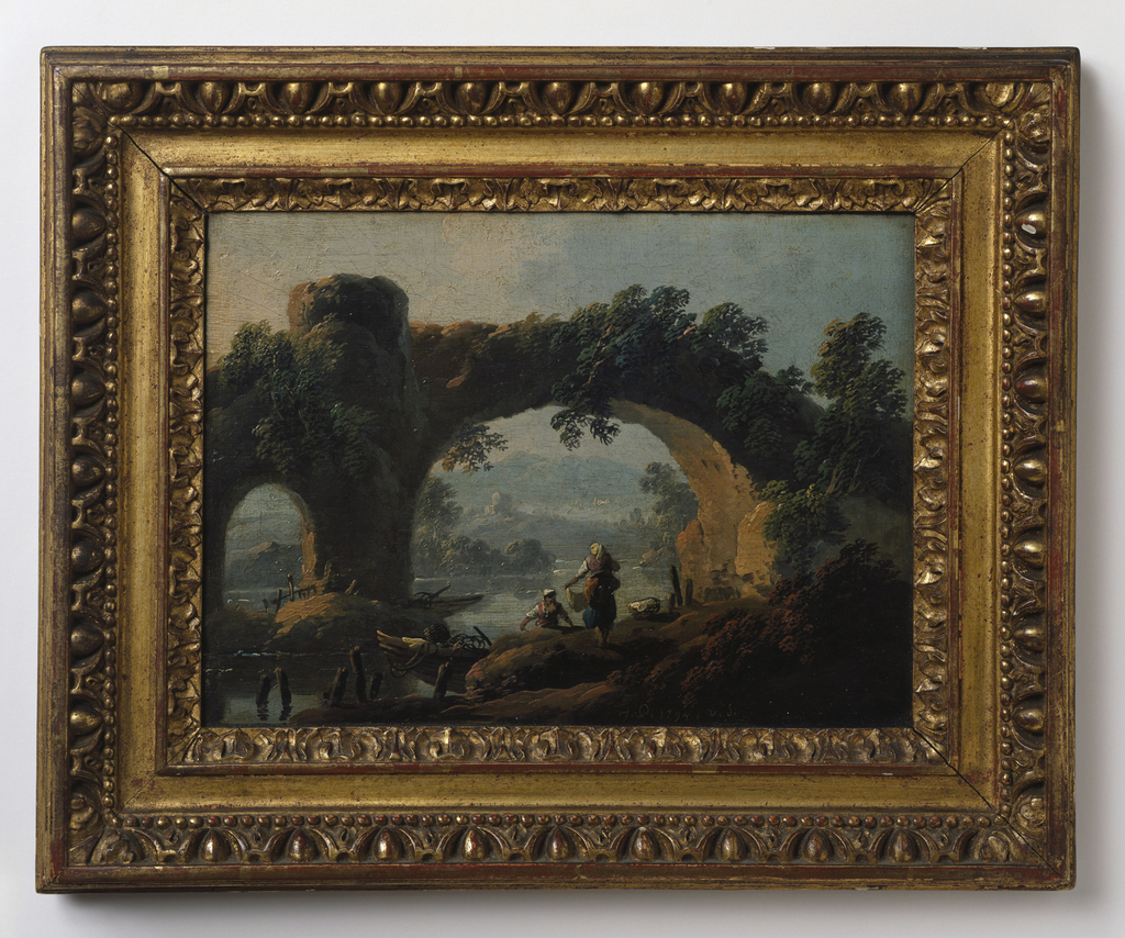 Rustic landscape with aqueduct and figures