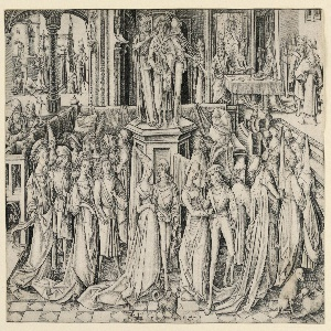A banquet scene in a palace. In foreground, several couples dancing around musicians standing on a high stand. In background, left: beheading of St. John, the Baptist; right: Herod's family with the head of St. John.