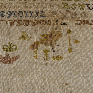 Bands of pattern, Arabic alphabet, and Hebrew letters.