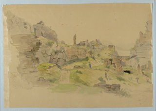 Sketch of a landscape with ruins.