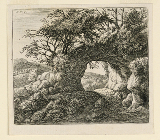 A landscape with a pierced rock extending from the center to right. In front of this a passage way; at right sits a man with a package on his back. Trees and bushes surround.