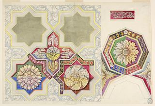Vertical format. At left, part of a ceiling showing four panels with sixteen sides, a panel shaped like an equal cross, and four halves and four quarters. The cross is decorated with a blossom rosette at center and four palmettes. Two rosettes are suggested for the other panels with four different colorings of the background. Various designs for leaf stems; garlands are suggested for the bands representing the panels. Top right: a band with an acanthus rinceau between two strips. Bottom right: an octagonal coffer with a rosette. Eight designs are shown for the framing band. Half of the designs have different colorings. Rosettes are suggested in the panels and shaped like eight-pointed stars between the octagonals.