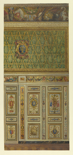 Elevation of section of wall. Lower portion, containing groups of painted panels, chiefly including royal monograms and escutcheons as motifs of decoration. Upper portion, framed fabric, showing royal monogram against all-over pattern.