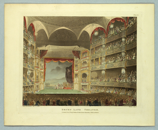 Horizontal rectangle. View of the theater facing the stage from the rear. Filled boxes and floor. Roman play in progress. Title, artists' and publisher's names below.