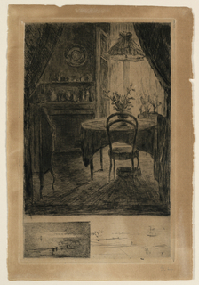 View into a dining room, partly covered by draperies on upper foreground. A round table and chair in mid-distance; window behind it. A breakfront and commode at left. Remarque proof below.