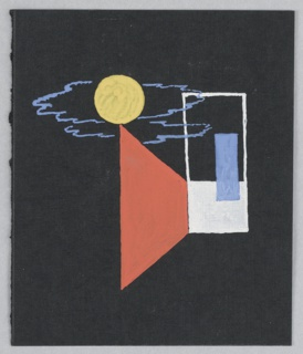 Study for an Exhibition Annoucement for Shell-Mex and BP Ltd. On a black ground, a white door or window with a blue rectangle; to left a bright red triangle and a bright yellow circle before a blue cloud.