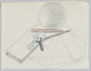 """Study for a """"Merchants Prefer Shell"""" poster. At center top, a globe sits atop an open book, resting on a platform with a colored pencil (shaded orange), and keys on a ring in blue and black. Below in block text: MERCHANTS PREFER SHEL [sic]."""