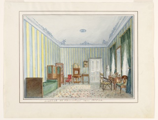 The location of this room is identified as the country house of the Kishkovsky family in Russia. The coved ceiling is decorated in a blue design, the walls are papered in yellow and blue stripes and the floor is carpeted in a geometric pattern. A desk, placed in front of a tall mirror between the windows, is furnished with candlesticks. A small hanging bookshelf and cabinet-on-stand, mounted with a flowered porcelain plaque, are next to the door at the rear. An elegant daybed, covered in green, and a privacy screen are placed on the long wall on the left.