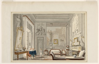 The wall decoration in the eighteenth century grisaille technique is obscured by mirrors and a portrait. The Louis XVI ormolu-mounted table, bergere armchair and upholstered wood-framed seating furniture constitute a room of mixed style. A table covered by a blue cloth for writing or painting stands near the window. A small boy in a white dress and pantalettes stands in front of the door.