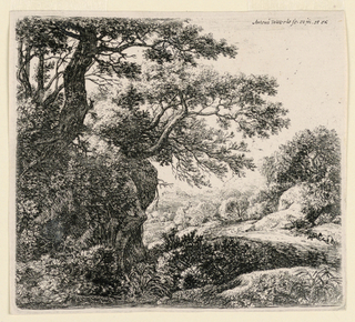 A road winds through the wooded scene, around rocks and trees. A sleeping figure beside the road at right.