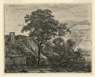 Print, Thatched Cottage by a Swamp in Evening Light