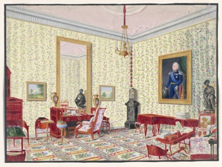 In this view, the Grand Duchess Cecilia von Oldenburg's study is dominated by the large wall-hung portrait on the right of a man in military uniform, possibly the Grand Duke Paul Friedrich.  Pale yellow walls with trails of flowers and a floral carpet of the same coloration create a background for the elegant suite of Biedermeier furniture. The ormolu-mounted desk holds two porcelain vases, perhaps from the Imperial Porcelain Manufactory of Russia. A reflection of the bronze sculpture of Psyche is seen in the tall mirror behind the desk on the left. Books, small pictures and a sewing box-on-stand create a very personal study for a duchess.