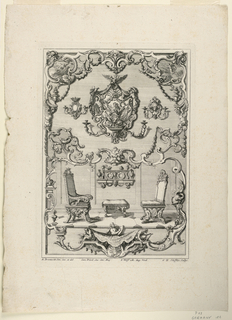 """Print, Unterschiedlich Augspurgische Goldschmidts Arbeit, """"Large Frame Design, Two Chairs and Wall Sconces"""", Plate 6"""