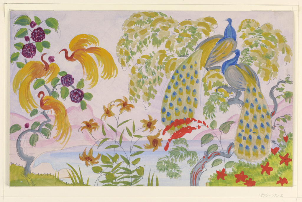 Horizontal rectangle. Fanciful landscape, two peacocks in a tree to the right, three birds with yellow plumage in a tree to the left.