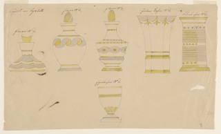 Horizontal rectangle. Designs for cups and bottles made of cut and gilded glass opal, hyalith. Upper row from left to right: shoulder, neck, and stopper of a bottle; two bottles; two cups for quills. Bottom row, center: an egg-cup.
