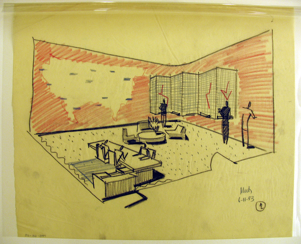 Office interior with figures standing along walls; and figures sitting at desk at left; map on wall and screen; waiting area at center of floor.