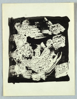 Speckled blotches on white brush strokes against a black ground, formed in the shape of a square.