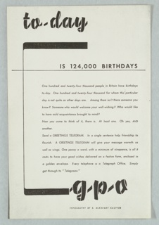 Photocopy of an advertisement. In a ribbon-like text in black, upper left: to-day; below, to the right; in smaller sans-serif: IS 124,000 BIRTHDAYS; center right: two paragraphs of copy text. At bottom, in the same ribbon-like text as at top: g-p-o.