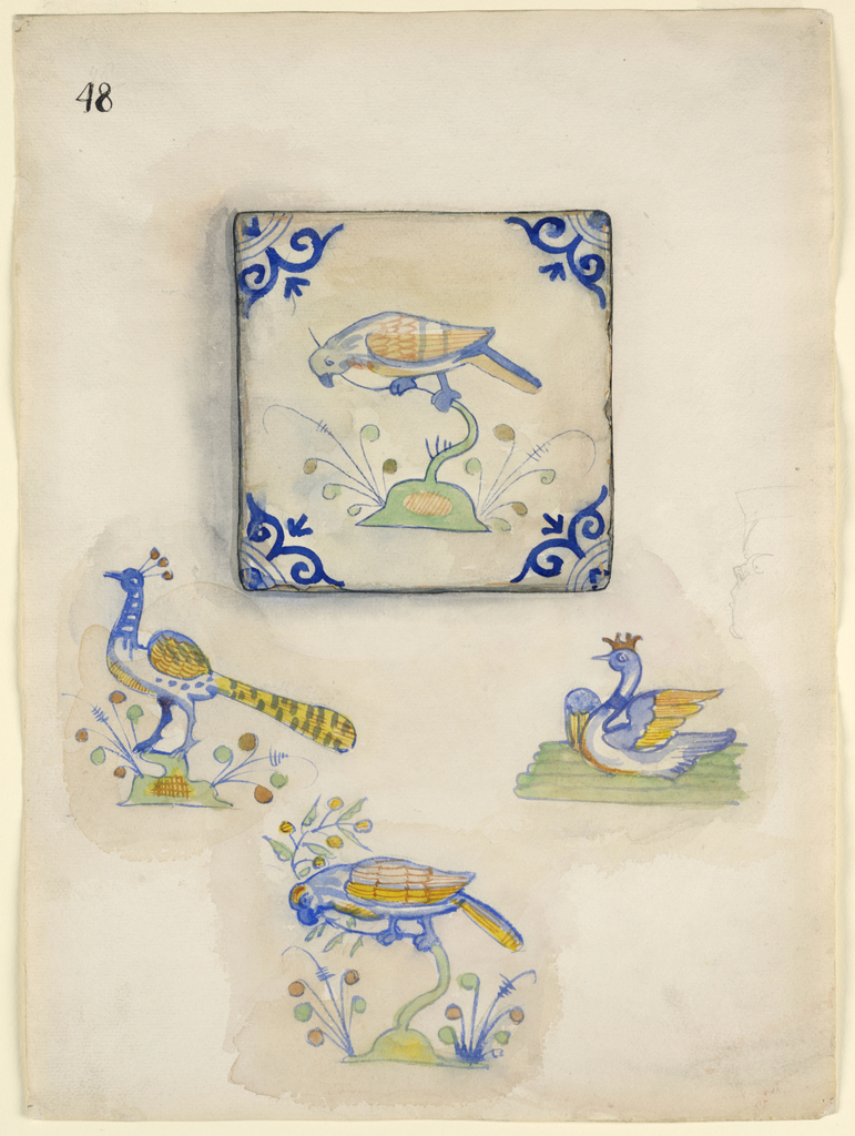 At top, a view of a tile showing a parrot perched on a green plant. Blue motif in each corner. Below, the central motif of three tiles, showing a pea hen, swan and parrot.