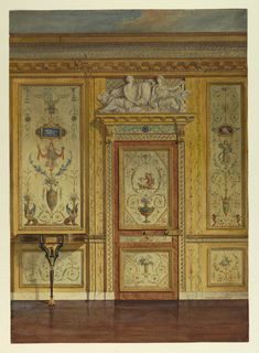 Section of wall, with painted panels of small-scale motifs of foliage, figures, sphinxes, in the antique manner. Doorway with painted panels and overdoor of two reclining female figures in bold relief. Left, console table.