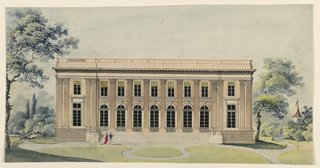 Drawing, View of an English Palladian country house in a park