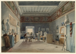 French artists who won the Prix de Rome were given studios in which to live and work during their time spent in Rome. The Academie de France occupied the Villa Medici on Monte Pincio from 1803. Three artists are seen in this room, which is sparsely furnished with simple wooden chairs, work tables and workstands. Folding beds, which would have been set up at night, were probably stored in the daytime behind the blue striped curtain in the right foreground. Paintings, plaster casts and portfolios are placed around the room. A pair of pistols mounted on a pedestal was carried for protection during sketching expeditions. A snake and a tortoise, presumably pets, are in open view.