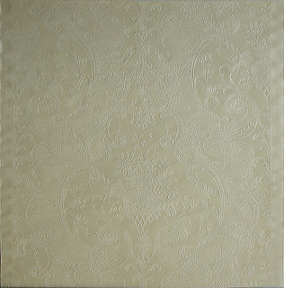 Embossed floral bouquet set within a basket weave textured diaper pattern.  Entire surface is printed in an off-white color.