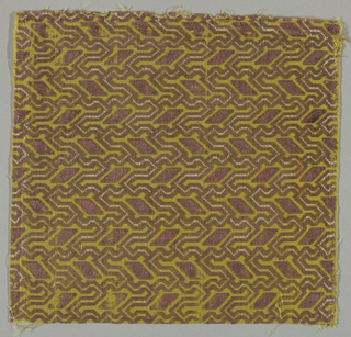 Component a: Brown silk velvet, faded from violet, cut and uncut, on yellow ground; geometric pattern. Components b and c: rose-colored silk velvet, cut and uncut, on yellow ground; geometric pattern.