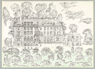 Carnegie Mansion surrounded on all sides with Koren's distinctive hairy cartoon creatures who can also be seen in the windows. The drawing is in black and white aside from a green ground in front of the building.
