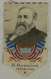"Line of white, blue, and red. Portrait of B. Harrison above tan eagle on top of red, white, and blue seal and American flag. Inscription: ""B. HARRISON /REPUBLICAN"". Blue star."